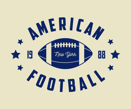 football ball: Vintage rugby and american football labels, emblems. Vector illustration Illustration