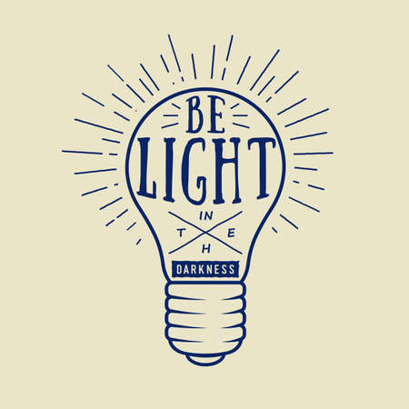 lampshade: Vintage typography with lamp and motivation and inspiration in white. Vector illustration