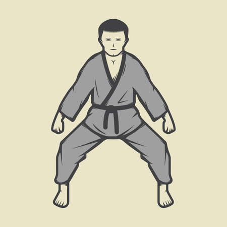 martial art: Vintage karate boy in retro style. Can be used for, emblems, badges, labels and design elements. Vector illustration