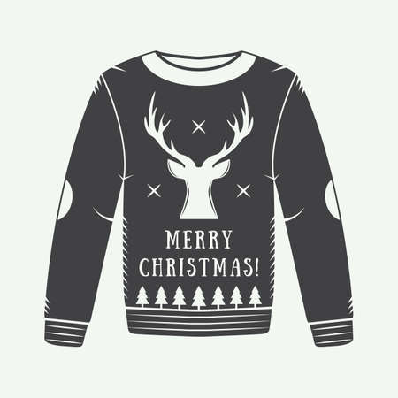 sueter: Suéter de la vendimia de invierno de Navidad con ciervos, árboles, estrellas y elementos de diseño de estilo retro. Se puede utilizar para logotipo, emblemas, insignias, las etiquetas y marcas de agua. Ilustración vectorial