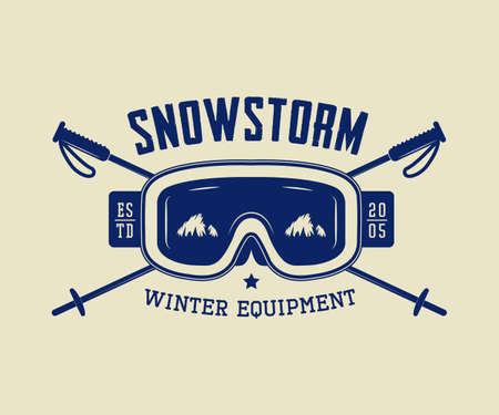 ski: Vintage ski or winter sports logo, emblem, badge, label or watermark with mask in retro style. Vector illustration Illustration