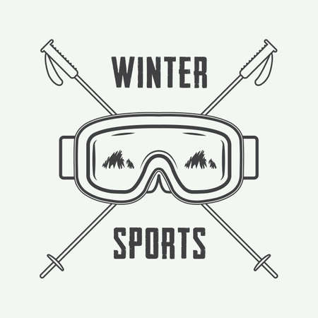 ski: Vintage ski or winter sports, emblem, badge, label or watermark with mask in retro style. Vector illustration
