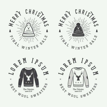 winter sales: Vintage Merry Christmas or winter sales, emblem, badge, label and watermark in retro style with sweaters, hats, scarfs, trees, stars, decor, deers and design elements. Vector illustration
