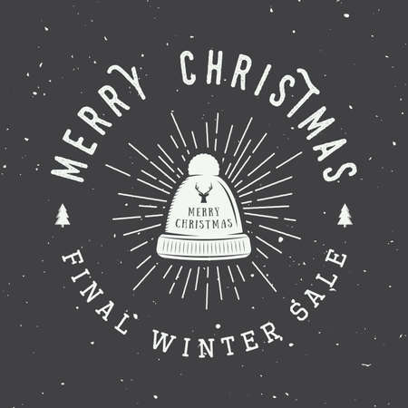 winter sales: Vintage Merry Christmas or winter sales, emblem, badge, label and watermark in retro style with hat, deer, trees, stars, decor and design elements. Vector illustration Illustration