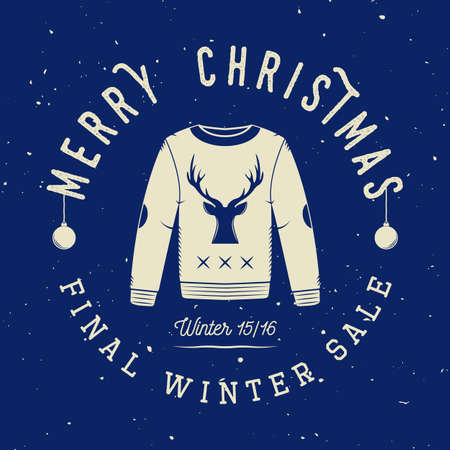 winter sales: Vintage Merry Christmas or winter sales, emblem, badge, label and watermark in retro style with sweater, deer, trees, stars, decor and design elements. Vector illustration