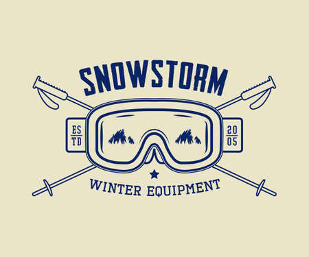 ice axe: Vintage winter sport or winter equipment, emblem, badge, label and watermark with mask, glasses and sticks in retro style. Vector illustration