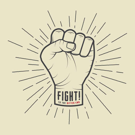 freedom fighter: Fist with sunbursts in vintage style. Vector illustration