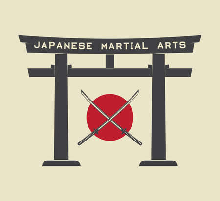 japanese temple: Japanese torii gate with japan flag and katana in vintage style. Vector Illustration