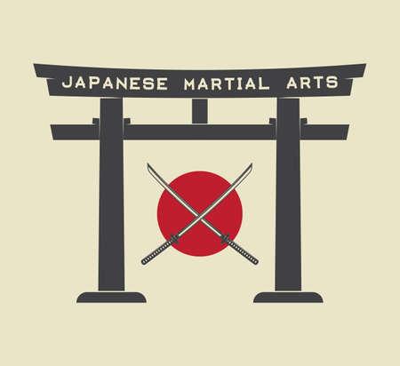 bandera japon: puerta torii japon�s con la bandera de Jap�n y katana en el estilo vintage. Ilustraci�n del vector