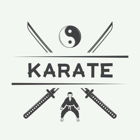 knockdown: Vintage karate or martial arts, emblem, badge, label and design elements. Vector illustration