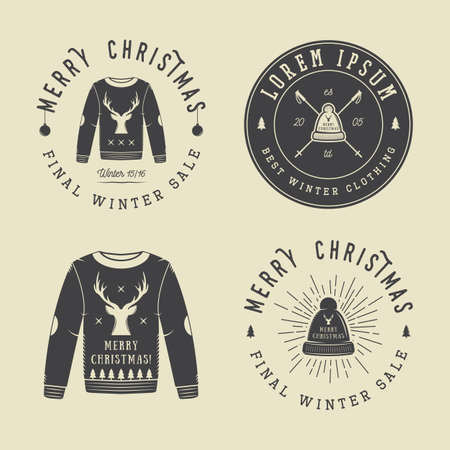 clothing shop: Vintage Merry Christmas or winter clothing shop  Illustration
