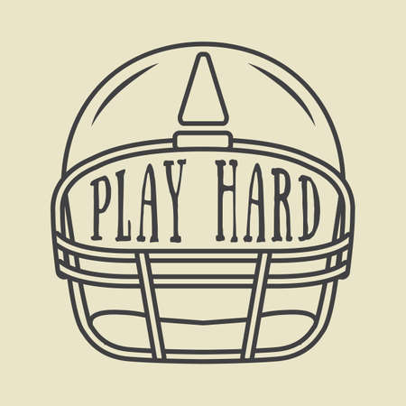 spirits: Vintage american football or rugby helm with motivation slogan. Vector illustration