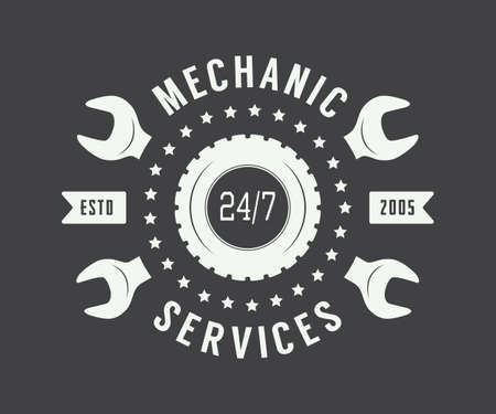 car part: Vintage mechanic label, emblem