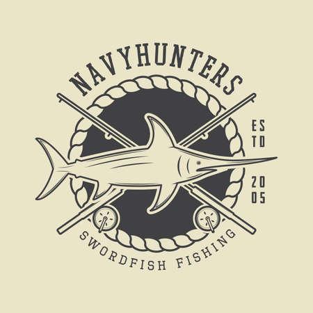sea saw: Vintage fishing label, log, badge. Vector illustration Illustration