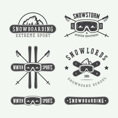 Vintage snowboarding or winter sports, badges, emblems and design elements. Vector illustration