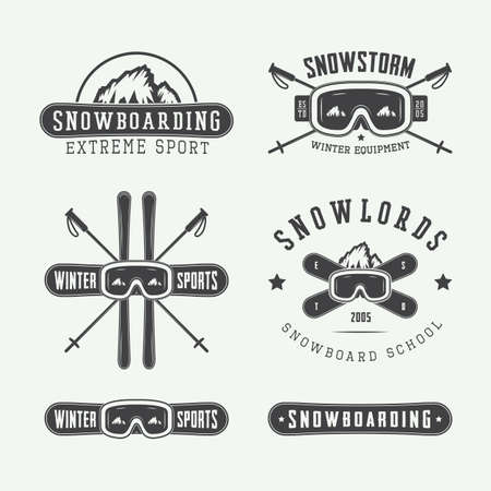 snow ski: Vintage snowboarding or winter sports, badges, emblems and design elements. Vector illustration