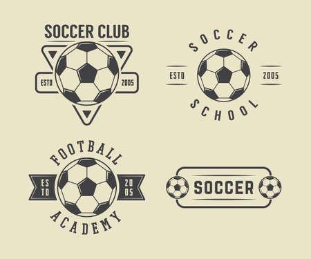 Set of vintage soccer or football, emblem, badge in retro style. Vector illustration Stock Illustratie