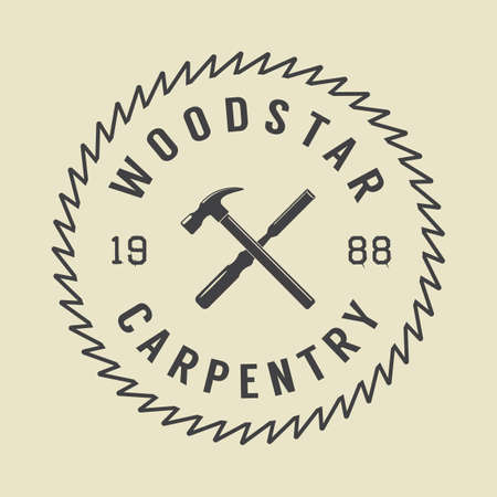 woodsman: Vintage carpentry and mechanic label, emblem
