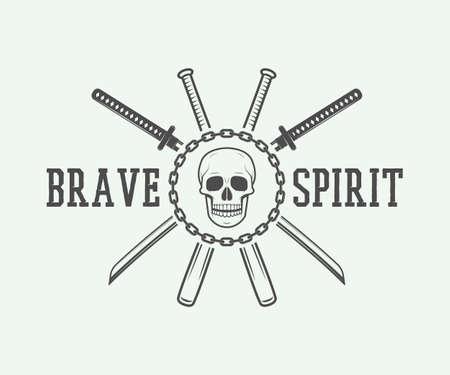 brave of sport: Vintage fighting or martial arts, emblem, badge, label and design elements. Vector Illustration