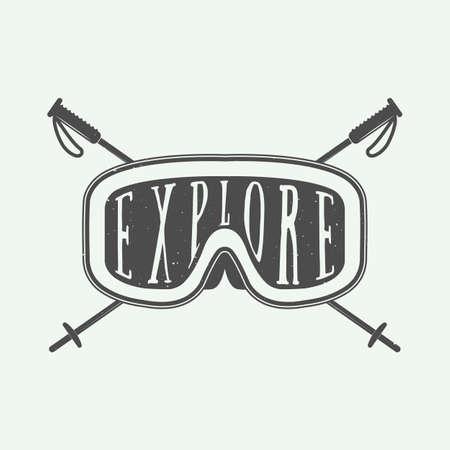 nordic ski: Vintage winter sports, badge, emblem and design elements with typography and mask. Vector illustration