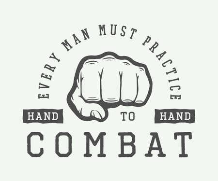 slogan: Vintage typography with motivation slogan and fist. Vector Illustration