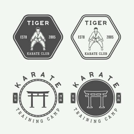 artes marciales: Conjunto de karate o artes marciales emblema, etiquetas y elementos de diseño de época. ilustración vectorial