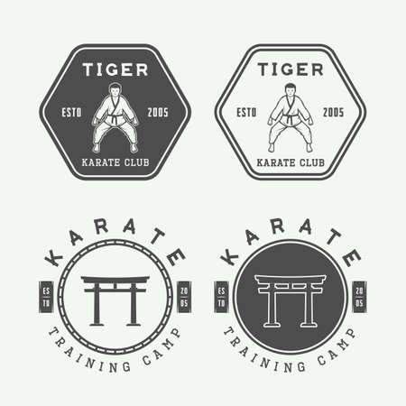 Set of vintage karate or martial arts emblem, badge, label and design elements. Vector illustration