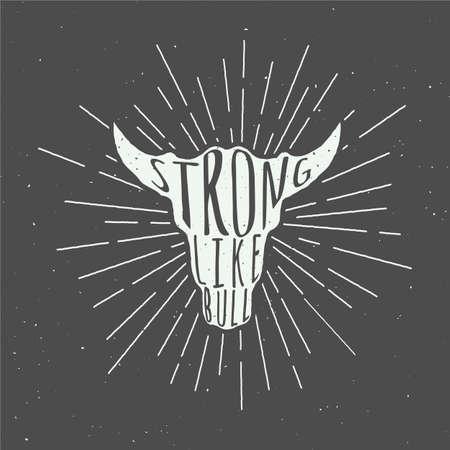 silhuettes época la cabeza de toro con lema de motivación. Ilustración del vector