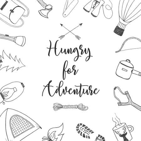 wanderlust: Vector card with hand drawn unique typography design element for greeting cards and posters. Hungry for adventure in vintage style with hand drawn doodles Illustration