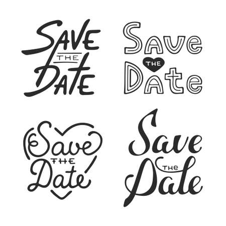 phrases: Set of vector hand drawn typography design element for greeting cards or invitations. Save the date calligraphy phrases. Unique lettering. Vintage templates.