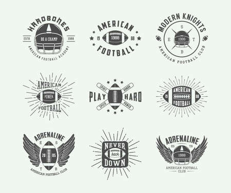 american football stadium: Set of vintage rugby and american football labels Illustration
