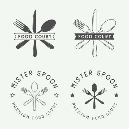 courts: Set of vintage restaurant or food court badge and emblem in retro style. Vector Illustration Illustration
