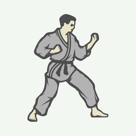 arts: Vintage karate or martial arts emblem, badge, label and design elements. Vector illustration