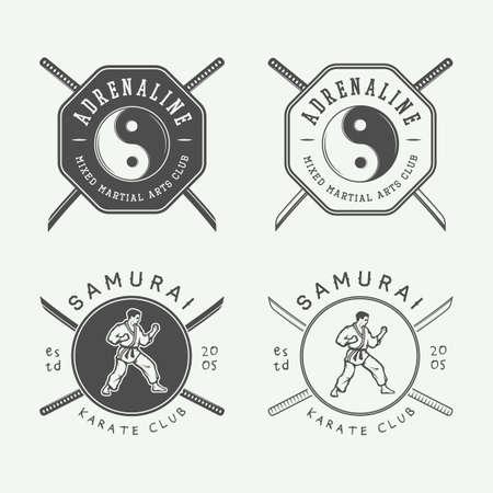 judo: Conjunto de karate o artes marciales emblema, etiquetas y elementos de diseño de época. ilustración vectorial