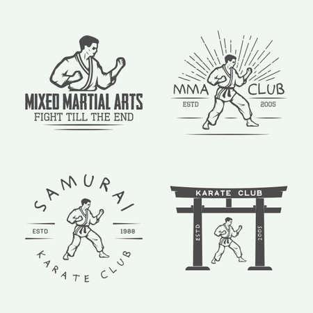 arts: Set of vintage karate or martial arts emblem, badge, label and design elements in retro style. Illustration Illustration