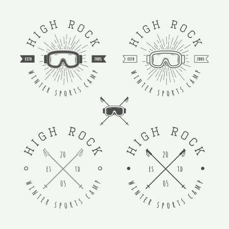 ski: Vintage snowboarding or winter sports badges, emblems and design elements. Vector illustration