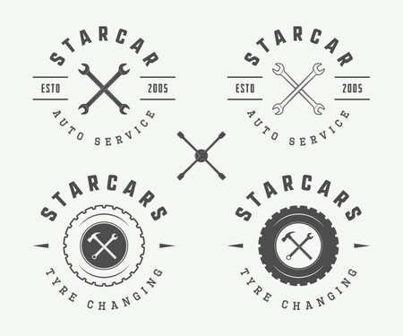 tools icon: Set of vintage mechanic label, emblem. Vector illustration