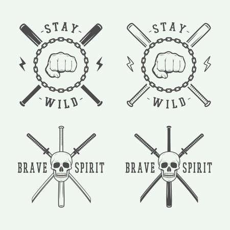 peleando: combates de �poca o artes marciales, emblema, insignia, etiqueta o marca. Ilustraci�n del vector