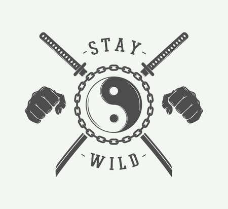 arts: Vintage fighting or martial arts, emblem, badge, label and design elements. Vector Illustration