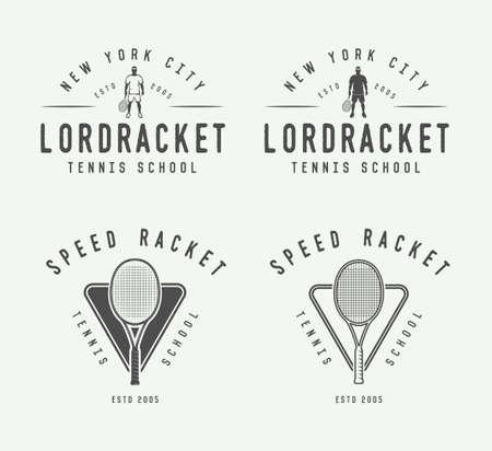 elite sport: Set of vintage tennis, emblems, badges, labels and design elements. Vector Illustration