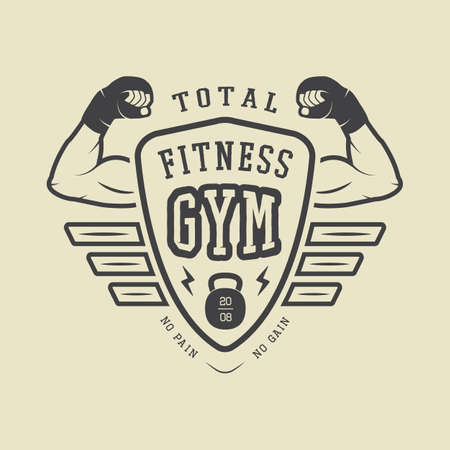 heavy metal: Gym label and or badge vintage style. Vector illustration