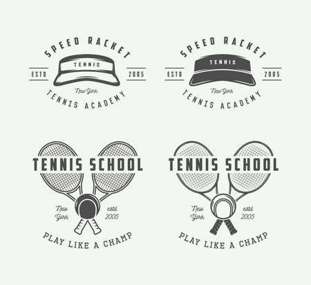 elite sport: Vintage tennis sport, emblem, badge, label or mark. Vector Illustration