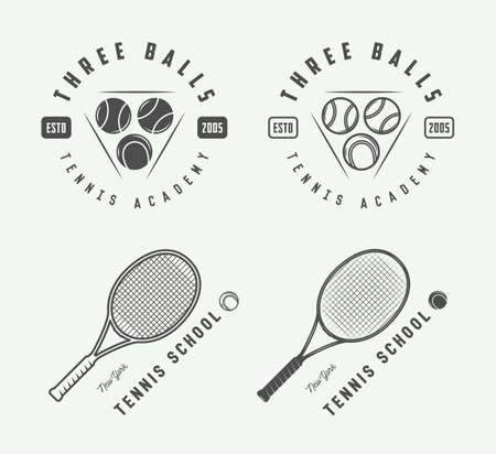elite sport: Set of vintage tennis, emblems, badges, labels and design elements. Vector Illustration