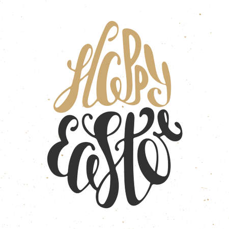 easter sign: Happy Easter vector typography design elements for greeting cards, invitation, prints and posters. Hand drawn lettering in golden and black color, modern calligraphy style Illustration