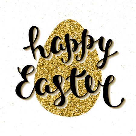 golden egg: Easter vector typography design elements for greeting cards, invitation, prints and posters. Hand drawn lettering on glitter textured golden egg, modern calligraphy style. Happy Easter.