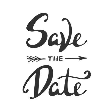 Save the Date nodigt kaart vector sjabloon met moderne kalligrafie op een witte achtergrond. Handgeschreven letters. hand getrokken design elementen. Stock Illustratie