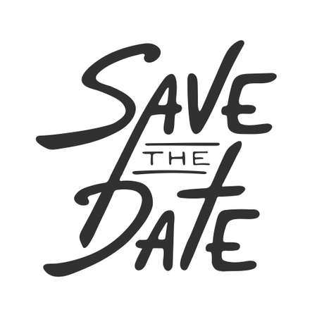 Save the Date inviter carte modèle vectoriel avec la calligraphie moderne isolé sur fond blanc. lettrage Handwritten. Hand drawn éléments de conception.