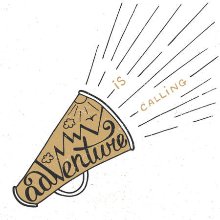 mouthpiece: Vector card with hand drawn unique typography design element for greeting cards, prints and posters. Adventure is calling in golden mouthpiece with mountains in vintage style. Handwritten lettering.