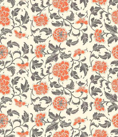 flores chinas: Fondo floral decorativo chino de la vendimia con flores de peonía. Sin costuras ornamentales antigüedad contexto patrón de la tela, textil, papel de regalo, tarjeta, invitación, papel pintado, diseño de páginas web.