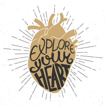 anatomic: Vector card with hand drawn unique typography design element for greeting cards, prints and posters. Explore your heart in anatomic golden heart and starburst, vintage style
